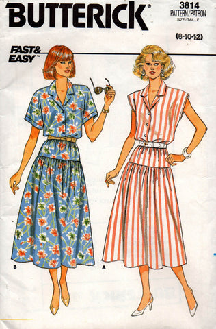 butterick 3814 80s top and skirt