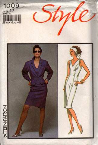 Style 1009 Womens Princess Seamed Sheath Dress   Cropped Peplum Jacket 80s Vintage  Sewing Pattern Size 12 Bust 34 inches UNCUT Factory Folds 980b25ece