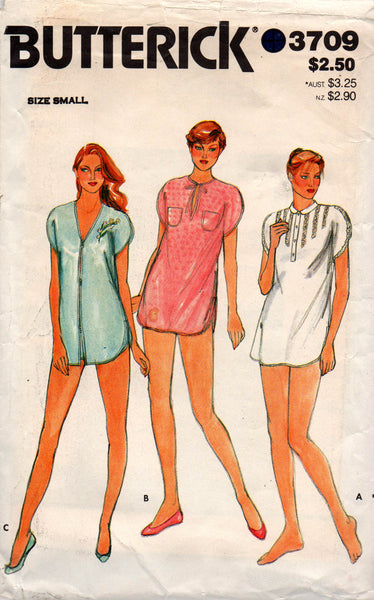 Butterick 3709 sleep shirt and shorts 80s