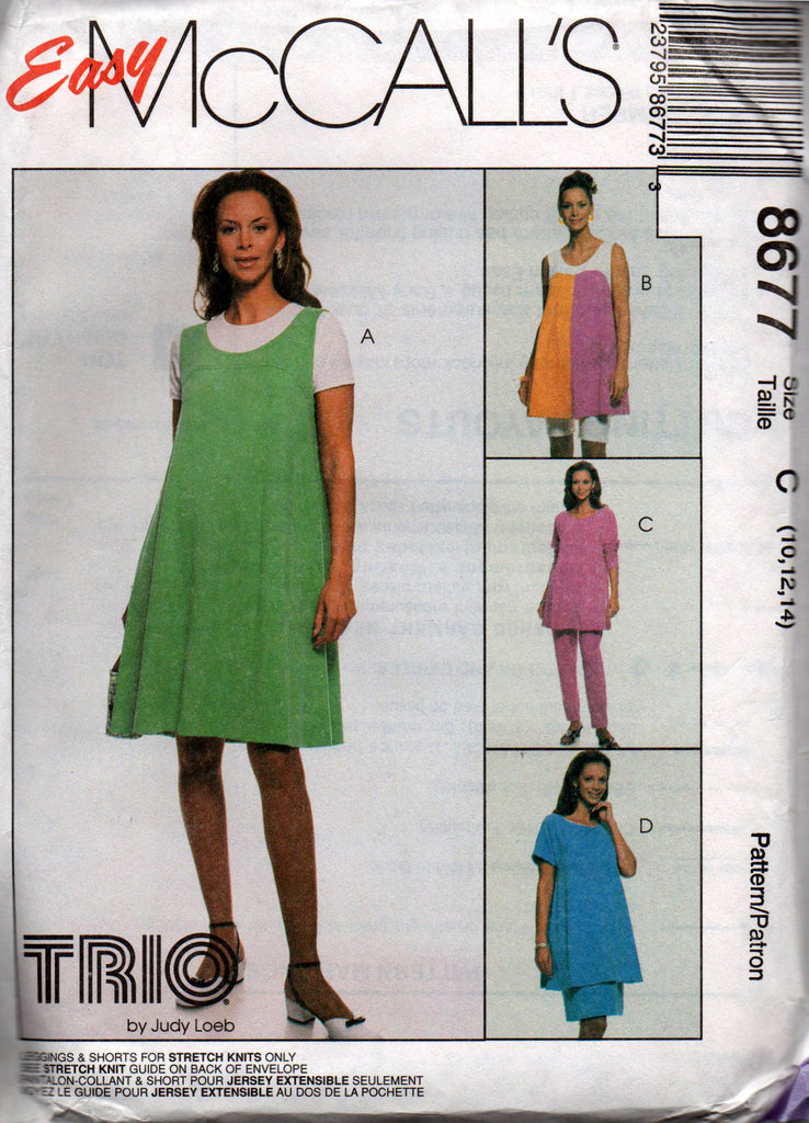 McCall's 8677 Womens Maternity Clothes Jumper Top Skirt Leggings & Shorts  90s Sewing Pattern Size 10 12 14 UNCUT Factory Folded