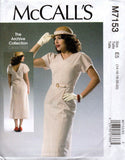 McCall's 7153 Repro Womens 1930s V Neck Dress & Belt Sewing Pattern Size 6 - 14 UNCUT Factory Folds