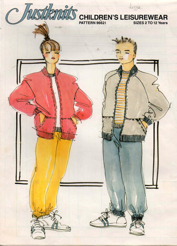 Justknits 96621 80s Boys or Girls Jacket Hoodie Vest Pants Sweatshirt Vintage Sewing Pattern Sizes 2 - 12 UNCUT Factory Folded