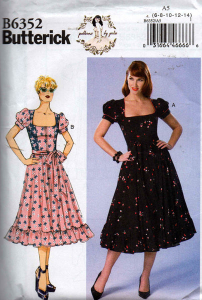 Butterick B 6352 GERTIE'S Retro Womens Zip Front Ruffled Peasant Dress Sewing Pattern Size 6 8 10 12 14 UNCUT Factory Folded