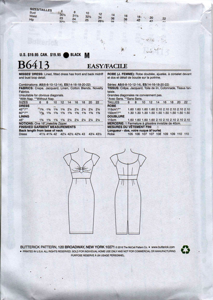 Butterick B 6413 GERTIE\'S Womens Retro Keyhole Bodice Dress Sewing ...