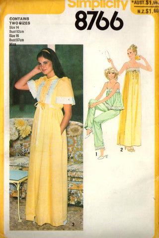 Simplicity 8766 Womens Sleepwear Nightgown Pajamas   Robe 70s Vintage Sewing  Pattern Sizes 14 and 16 Bust 36 and 38 inches UNCUT Factory Folded d5c21582c