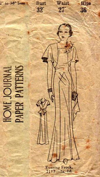 Australian Home Journal 7117 Womens Panelled Evening Gown 1930s Vintage Sewing Pattern Bust 32 Inches