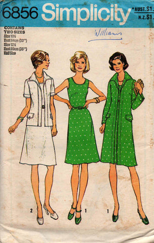 Simplicity 6856 1970s dress and coat