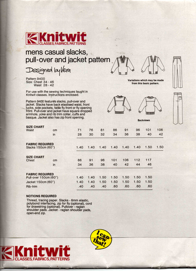 Knitwit 9400 Mens Casual Pants Pullover Top & Zip Front Jacket 80s ...