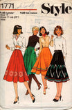Style 1771 Womens Flared Skirt with applique 70s Vintage Sewing Pattern Size 14 Waist 28 inches