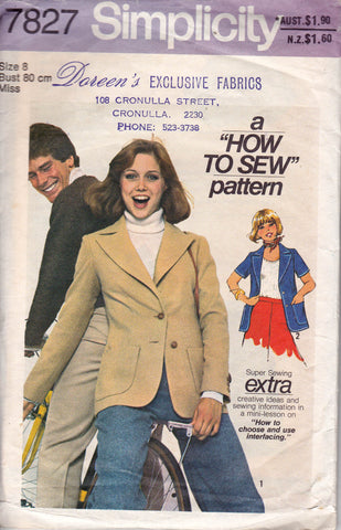 Simplicity 7827 Womens Retro Jacket 70s Vintage Sewing Pattern Sizes 8