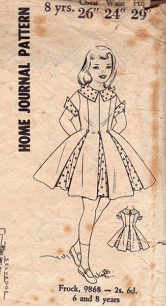 Australian Home Journal 9868 Girl's Full Skirt Party Dress 50s Vintage Sewing Pattern Size 8 Breast 26 inches