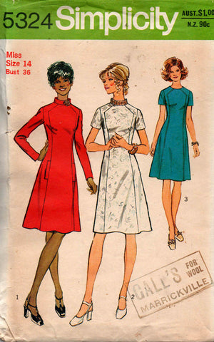 Simplicity 5324 Womens Fit & Flare Front Seam Interest Dress 70s Vintage Sewing Pattern Size 14 Bust 36 inches