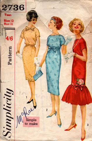 Simplicity 2736 Womens Flounced Hem Sheath Dress 1950s Vintage Sewing Pattern Size 12 Bust 32 inches