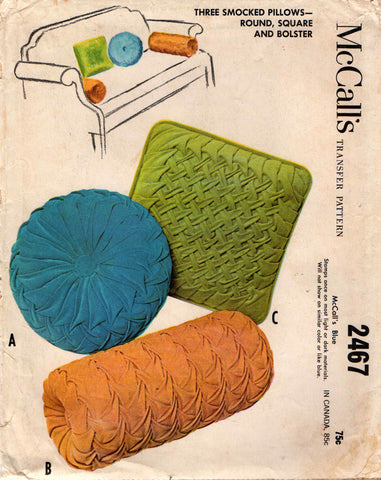McCall's 2467 MOD RETRO Smocked Round Square Bolster Pillow Covers UNCUT