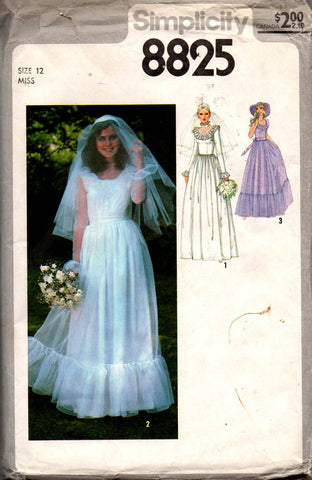 f3ce67d62ffd0 Simplicity 8825 Womens Flounced Wedding Dress 70s Vintage Sewing Pattern  Size 12 Bust 34 inches UNCUT Factory Folded
