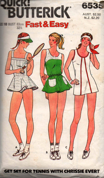 Butterick 6535 Womens Tennis Dresses 1980s Vintage Sewing Pattern Size 10 Bust 32 1/2 inches