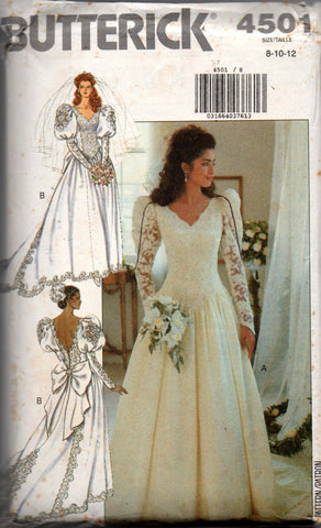 Butterick 4501 80s wedding dress