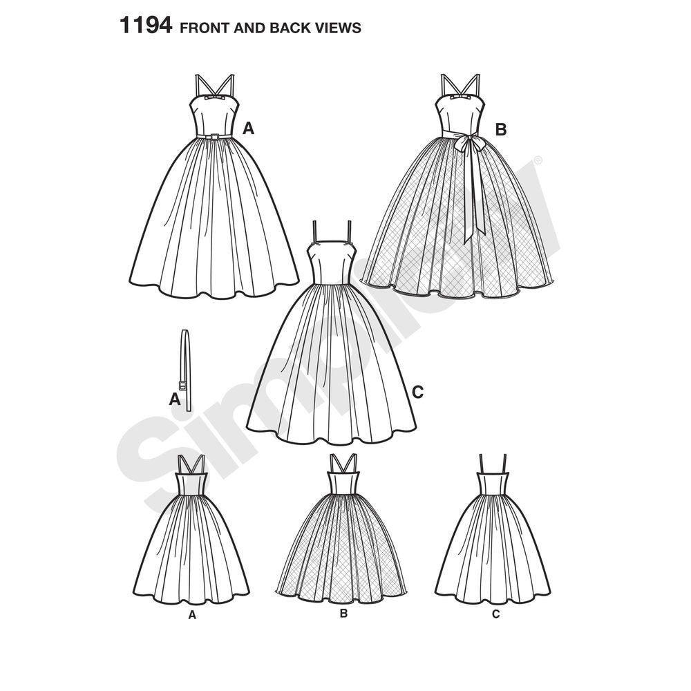 Simplicity 1194 Womens Repro 1950s Full Skirt Dress / Ballgown ...