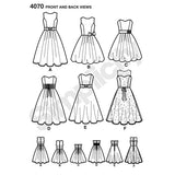 Simplicity 4070 Womens Full Skirt Dress Strapless or Sleeveless Prom Formal Sewing Pattern Sizes 12 - 20 UNCUT Factory Folded