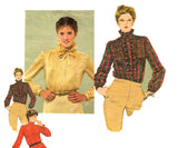 Simplicity 9713 Womens Ruffled Steampunk Blouse 80s Vintage Sewing Pattern Size 10 Bust 32 1/2 inches UNCUT Factory Folded
