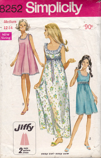Simplicity 8252 Vintage 60s Sewing Pattern Womens A Line Nightgown Size MEDIUM 12 - 14 Bust 34 - 36 inches