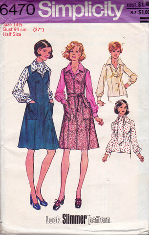Simplicity 6470 Womens Zip Front Jumper Blouse & Scarf 1970s Vintage Sewing Pattern Half Size Size 14 1/2 Bust 37 inches UNCUT Factory Folds
