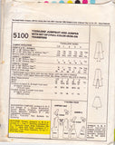 McCall's 5100 Toddlers Dungarees & Pinafore Jumper COLOUR IRON ON TRANSFERS Vintage Sewing Pattern Size 6 months