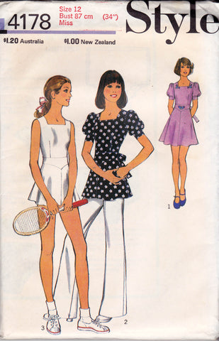 Style 4178 Womens Tennis Dress Top Dress   Panties 70s Vintage Sewing  Pattern Size 12 or 14 Bust 34 or 36 inches c34e8fbce