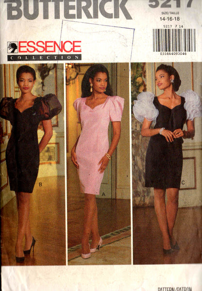 butterick 5217 puff sleeved 90s prom dress