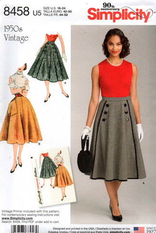 simplicity 8458 50s repro skirts