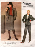 Vogue American Designer 1238 CALVIN KLEIN Womens Jacket Skirt & Pants 1980s Vintage Sewing Pattern Size 16 Bust 38 inches
