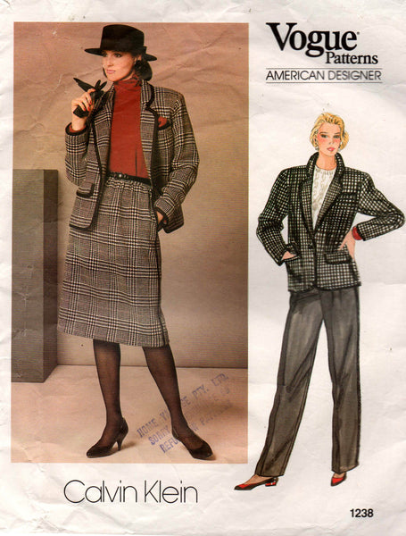 Vogue American Designer 1238 CALVIN KLEIN Womens Jacket Skirt & Pants 80s Vintage Sewing Pattern Size 16 Bust 38 inches