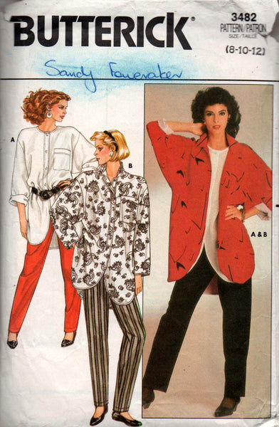 butterick 3482 shirt and pants 80s