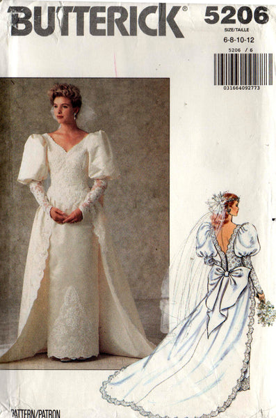 butterick 5206 90s wedding dress