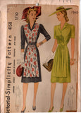 Simplicity 4158 Womens Apron Front Shirtdress 1940s Vintage Sewing Pattern Size 16 Bust 34 Inches UNUSED Factory Folded