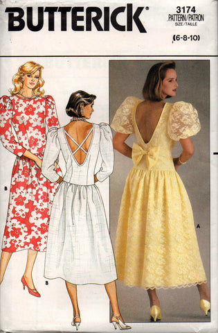 Butterick 3174 Womens Drop Waisted V Back Dress with Puff or Long Sleeves 1980s Vintage Sewing Pattern Size 6 - 10 UNCUT Factory Folded