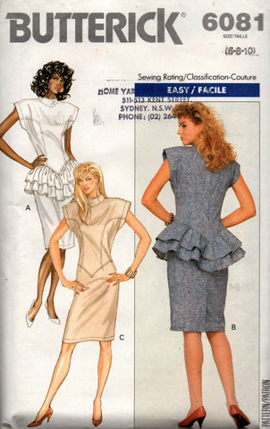 butterick 6081 80s peplum dress