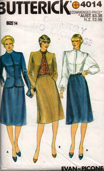 butterick 4014 evan picone separates 80s