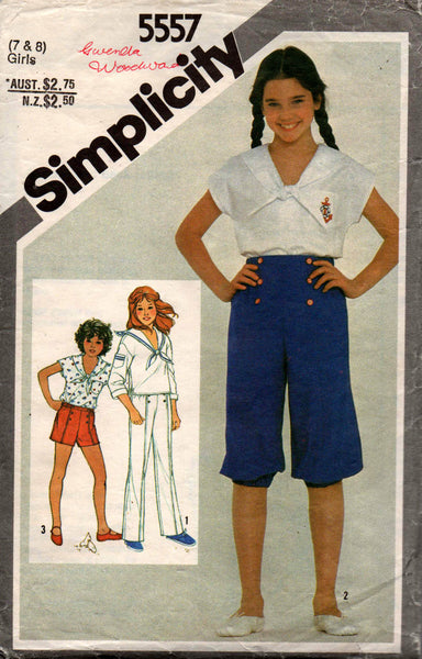 cheapest sale search for official best supplier Simplicity 5557 Girls Sailor Top Pants & Shorts 80s Vintage Sewing Pattern  Size 7 & 8