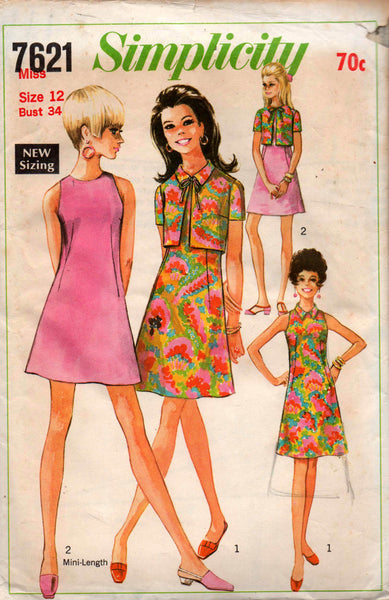 222595b654 Simplicity 7621 Womens A Line Dress & Jacket 60s Vintage Sewing Patter
