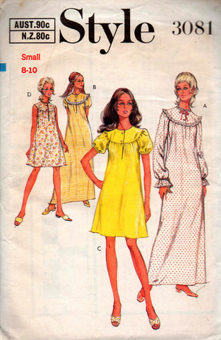 Style 3081 Womens Retro Nightdress 70s Vintage Sewing Pattern Size SMALL or LARGE