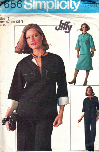 Simplicity 7656 Womens Caftan Top Skirt Pants 1970s Vintage Sewing Pattern Size 16 Bust 38 inches
