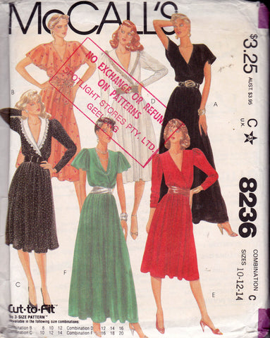 McCall's 8236 Womens Evening Maxi Wrap Dress 1980s Vintage Sewing Pattern Size 10 Bust 32 1/2 inches