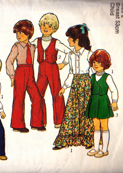 Style 2129 Toddler Boys Girls Mini Maxi Skirt Vest Shirt & Pants 1970s Vintage sewing pattern Size 2 or size 6