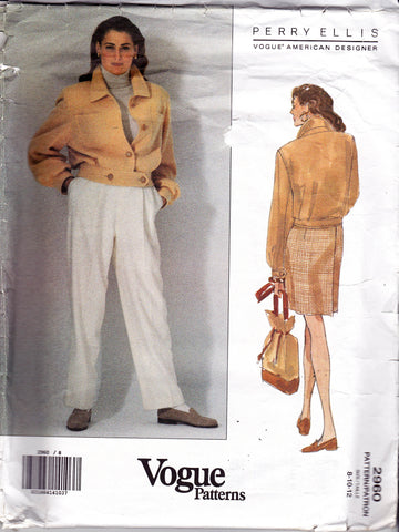 Vogue American Designer 2960 PERRY ELLIS 1990s Womens Jacket Pants & Skirt Sewing Pattern Size 8 10 12 UNCUT Factory Folded