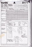 Burda 8171 Womens Wrap Coat Jacket Sewing Pattern Sizes 10 - 24 UNCUT Factory Folded