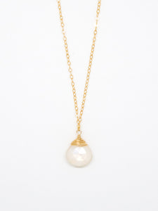 Mystic Moonstone Teardrop Necklace - 6943