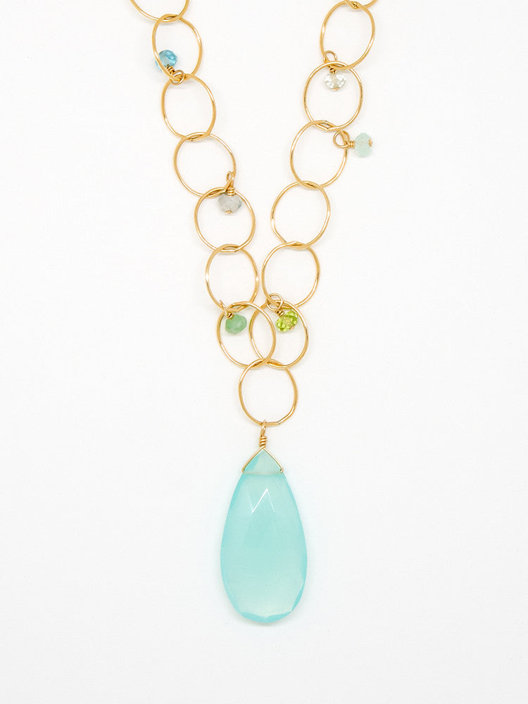 Chalcedony Teardrop Necklace - 6947