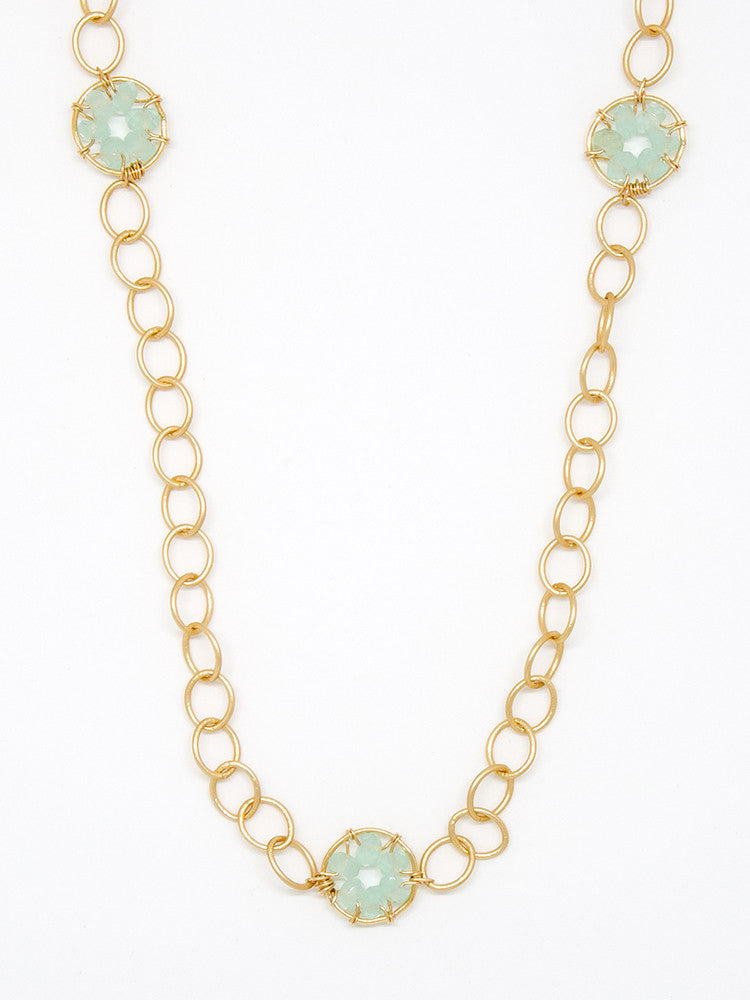 Chalcedony Circle Necklace - 6948