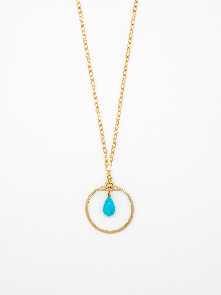 Baby Turquoise Teardrop Necklace - 6962